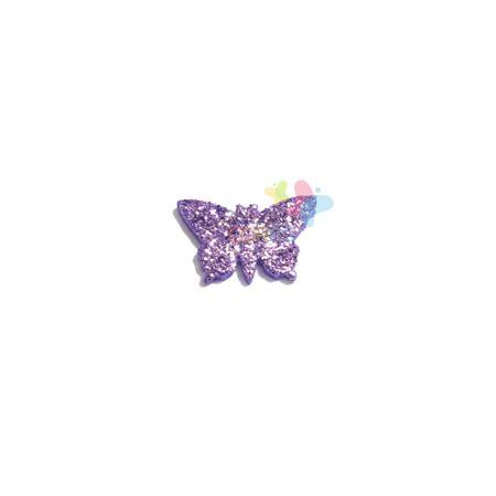 Aplique de EVA Borboleta Lilás Glitter - Tamanho PP - 50 Unidades
