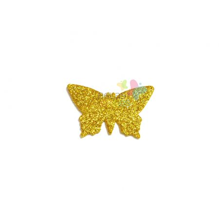 Aplique de EVA Borboleta Ouro Glitter - Tamanho G - 50 Unidades