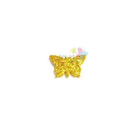 Aplique de EVA Borboleta Ouro Glitter - Tamanho PP - 50 Unidades