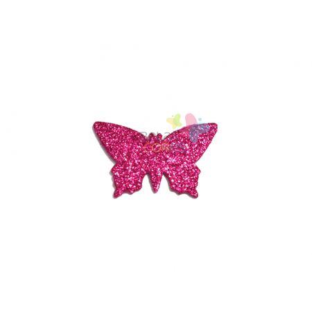 Aplique de EVA Borboleta Pink Glitter - Tamanho G - 50 Unidades