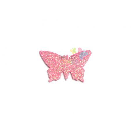 Aplique de EVA Borboleta Rosa Glitter - Tamanho G - 50 Unidades