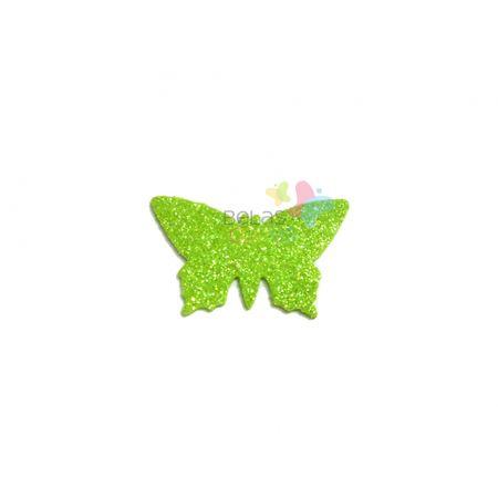 Aplique de EVA Borboleta Verde Claro Glitter - Tamanho G - 50 Unidades