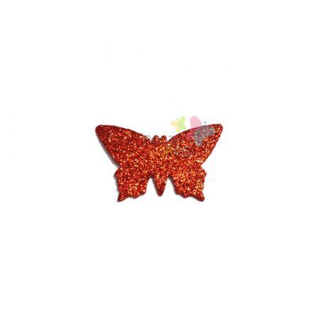 Aplique de EVA Borboleta Vermelho Glitter - Tamanho G - 50 Unidades