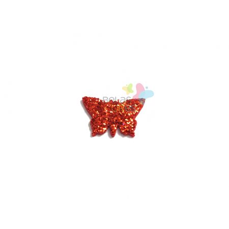 Aplique de EVA Borboleta Vermelho Glitter - Tamanho PP - 50 Unidades