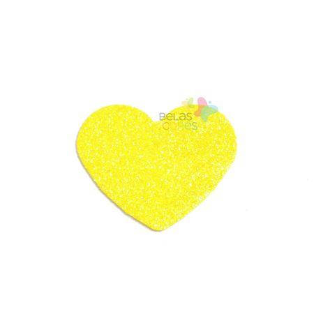 Aplique de EVA Coração Amarelo Glitter - Tamanho G - 50 Unidades
