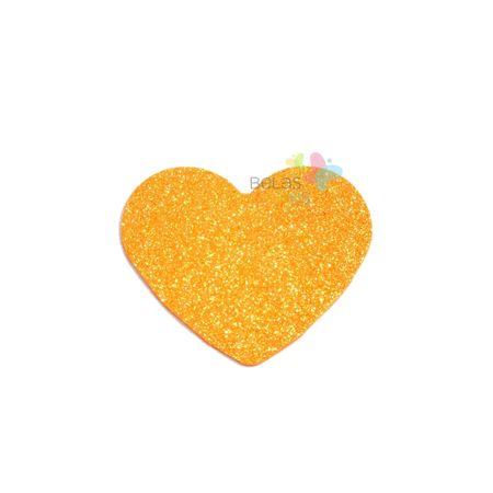 Aplique de EVA Coração Laranja Glitter - Tamanho PP - 50 Unidades