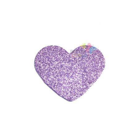 Aplique de EVA Coração Lilás Glitter - Tamanho PP - 50 Unidades