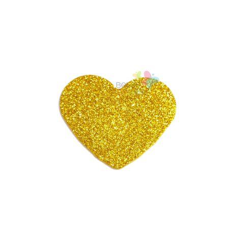Aplique de EVA Coração Ouro Glitter - Tamanho PP - 50 Unidades