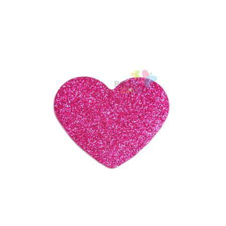 Aplique de EVA Coração Pink Glitter - Tamanho PP - 50 Unidades