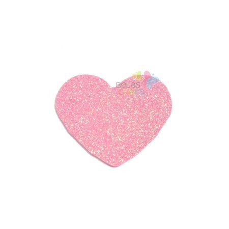 Aplique de EVA Coração Rosa Glitter - Tamanho PP - 50 Unidades