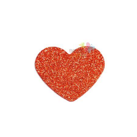 Aplique de EVA Coração Vermelho Glitter - Tamanho PP - 50 Unidades