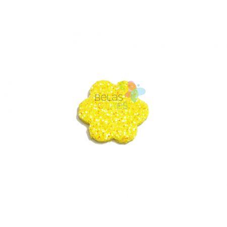 Aplique de EVA Escalope Amarelo Glitter - Tamanho PP - 50 Unidades