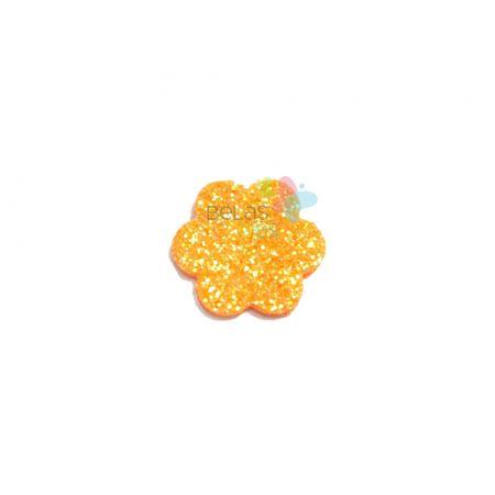 Aplique de EVA Escalope Laranja Glitter - Tamanho PP - 50 Unidades