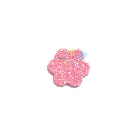 Aplique de EVA Escalope Rosa Glitter - Tamanho PP - 50 Unidades