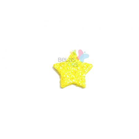 Aplique de EVA Estrela Amarelo Glitter - Tamanho M - 50 Unidades