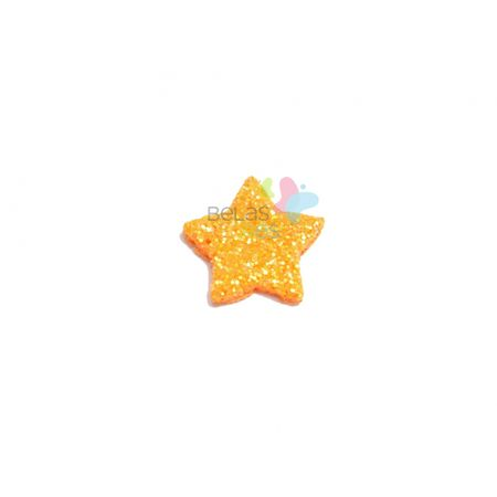 Aplique de EVA Estrela Laranja Glitter - Tamanho PP - 50 Unidades