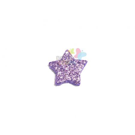 Aplique de EVA Estrela Lilás Glitter - Tamanho PP - 50 Unidades