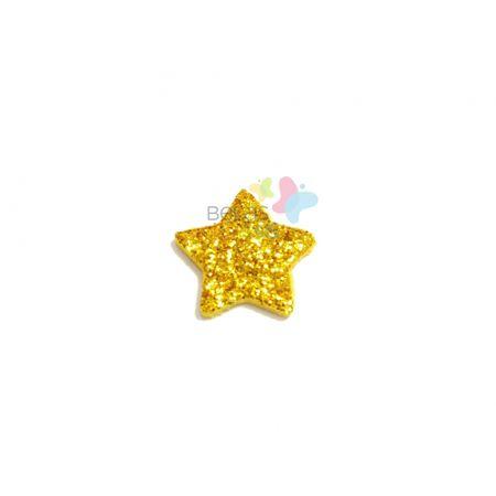 Aplique de EVA Estrela Ouro Glitter - Tamanho PP - 50 Unidades