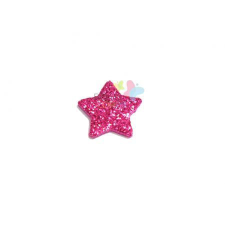 Aplique de EVA Estrela Pink Glitter - Tamanho PP - 50 Unidades