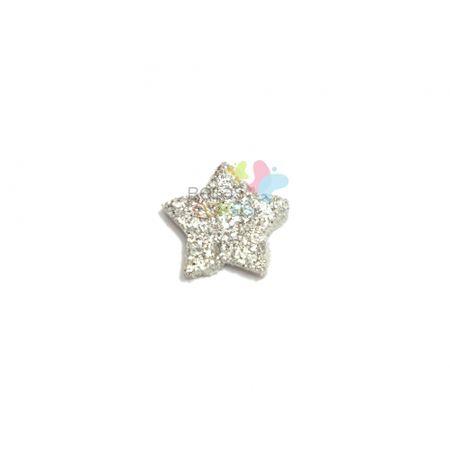 Aplique de EVA Estrela Prata Glitter - Tamanho PP - 50 Unidades