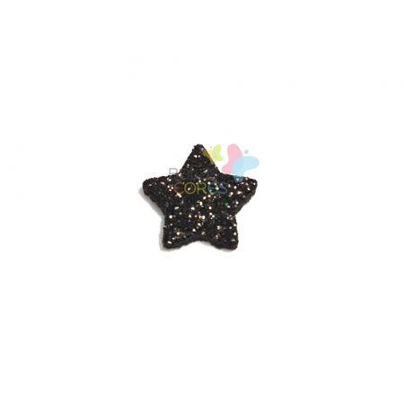 Aplique de EVA Estrela Preto Glitter - Tamanho M - 50 Unidades