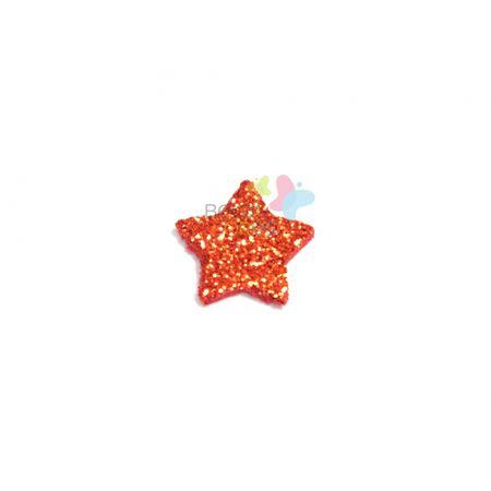 Aplique de EVA Estrela Vermelho Glitter - Tamanho M - 50 Unidades