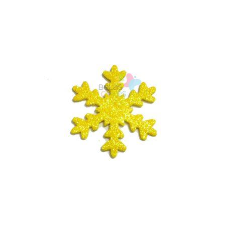 Aplique de EVA Gelo Amarelo Glitter - Tamanho G - 50 Unidades