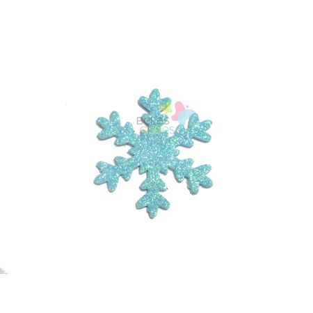 Aplique de EVA Gelo Azul Claro Glitter - Tamanho G - 50 Unidades