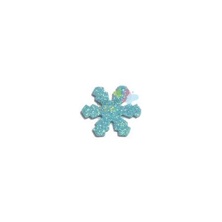Aplique de EVA Gelo Azul Claro Glitter - Tamanho P - 50 Unidades