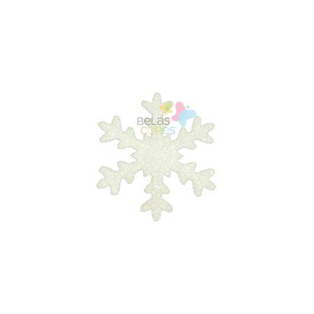 Aplique de EVA Gelo Branco Glitter - Tamanho G - 50 Unidades