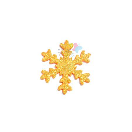 Aplique de EVA Gelo Laranja Glitter - Tamanho G - 50 Unidades