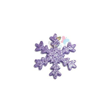 Aplique de EVA Gelo Lilás Glitter - Tamanho G - 50 Unidades