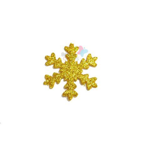 Aplique de EVA Gelo Ouro Glitter - Tamanho G - 50 Unidades