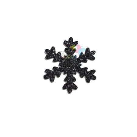 Aplique de EVA Gelo Preto Glitter - Tamanho G - 50 Unidades