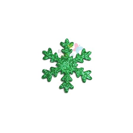 Aplique de EVA Gelo Verde Bandeira Glitter - Tamanho G - 50 Unidades