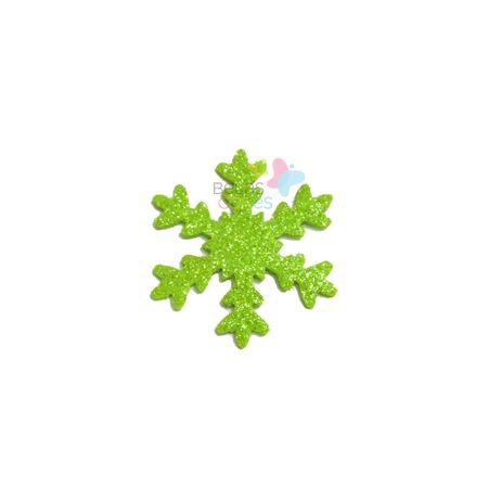 Aplique de EVA Gelo Verde Claro Glitter - Tamanho G - 50 Unidades