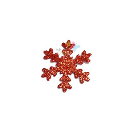 Aplique de EVA Gelo Vermelho Glitter - Tamanho G - 50 Unidades