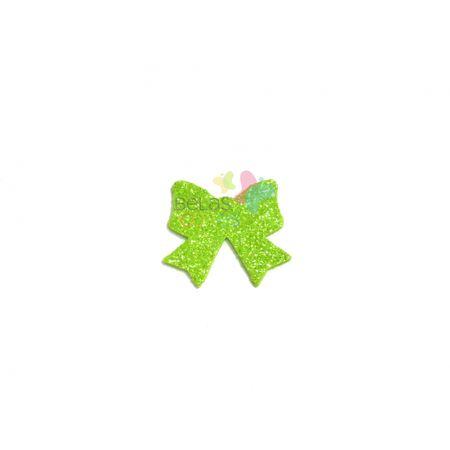 Aplique de EVA Laço Verde Claro Glitter - Tamanho M - 50 Unidades