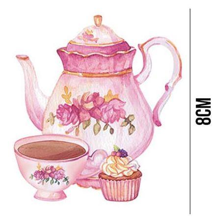Aplique de MDF e Papel - Bule, Xícara e Cupcake APM8 - 1071