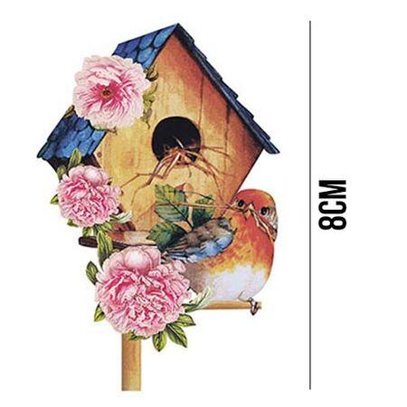 Aplique de MDF e Papel - Casa de Pássaro APM8 - 1072