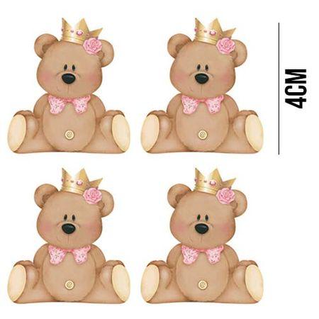 Aplique de MDF e Papel - Ursinhas com Coroa APM3 - 173
