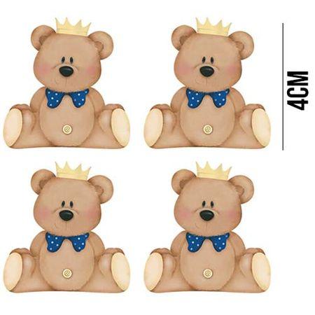 Aplique de MDF e Papel - Ursinhos com Coroa APM3 - 174