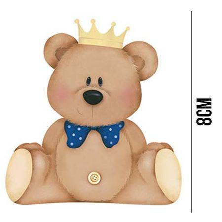 Aplique de MDF e Papel - Urso com Coroa APM8 - 631