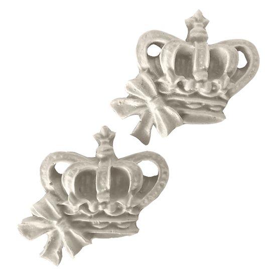 Aplique de Resina Coroa com Lacinho 3,5x4,3cm com 2 Peças