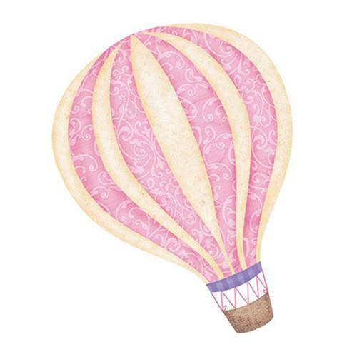 Aplique Decoupage em Papel e Mdf Balão Menina Apm8-632 - Litoarte