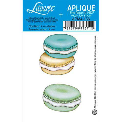 Aplique Decoupage em Papel e MDF Macarons APM4-136 - Litoarte