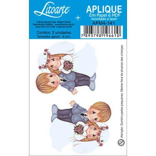 Aplique Decoupage em Papel e MDF Noivos Loiros APM4-141 - Litoarte