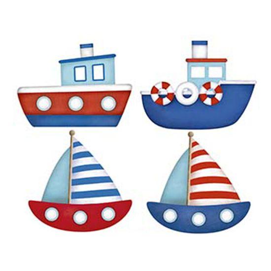 Aplique Decoupage Litoarte APM3-189 em Papel e MDF 3cm Barcos e Navios