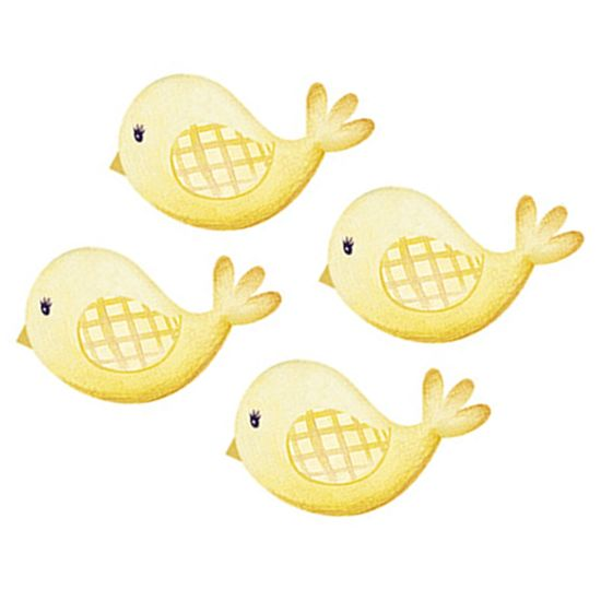 Aplique Decoupage Litoarte APM3-264 em Papel e MDF 3cm Passarinhos Amarelos