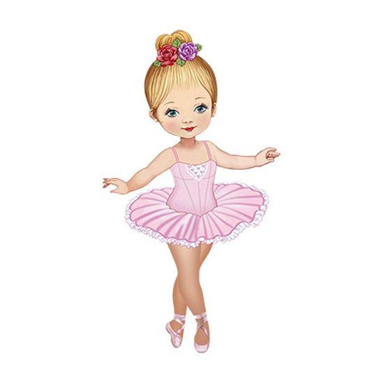 Aplique Decoupage Litoarte APM12-104 em Papel e MDF 12cm Bailarina Vestido Rosa